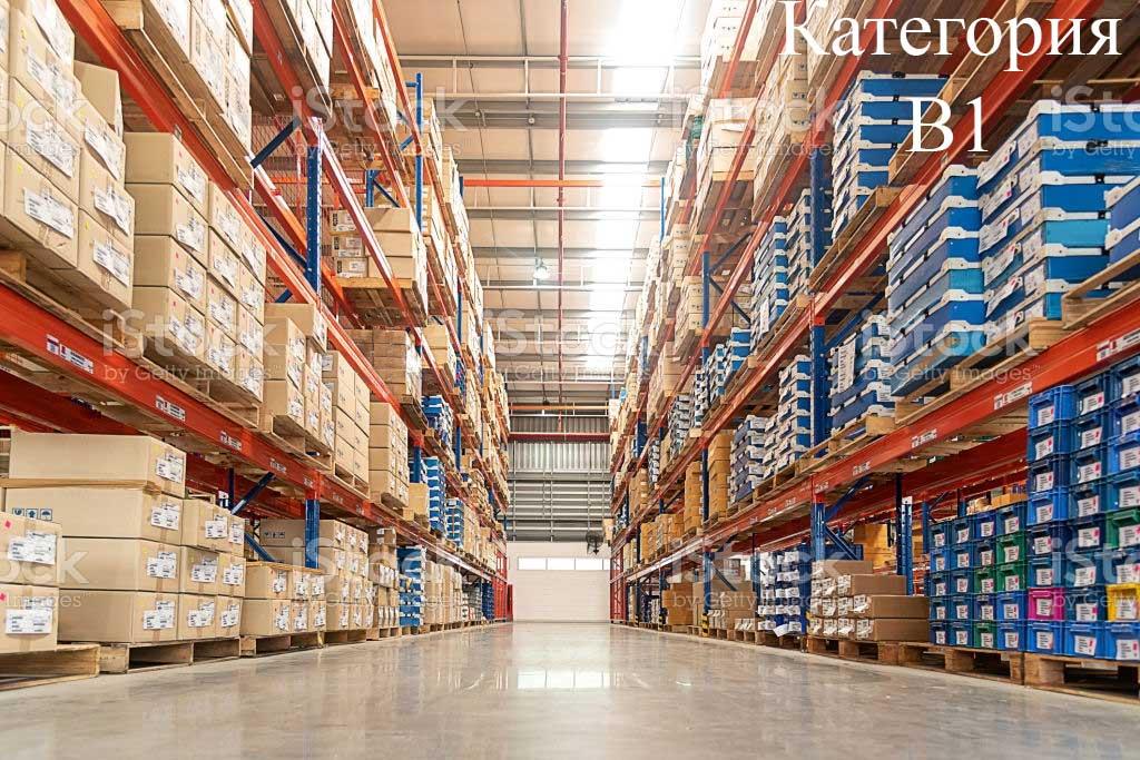 Определение категории пожароопасности склада - повышенная пожаропасность категоия В1.